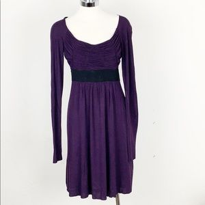 Bailey 44 Purple Ruched Long Sleeve Dress